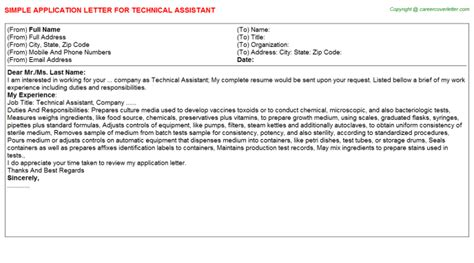 Library Technical Assistant Cover Letter by Technical Assistant Application Letter Descriptions And Duties