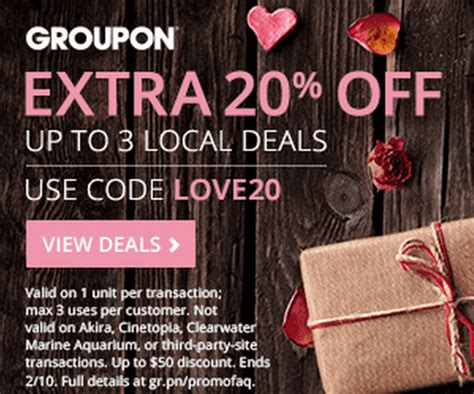 valentines groupon groupon canada s day promo code deals save an