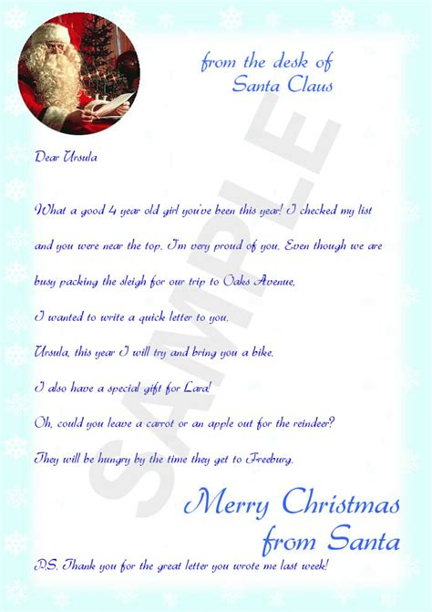 Letter From Santa Template Cyberuse Santa Letter Template For Day