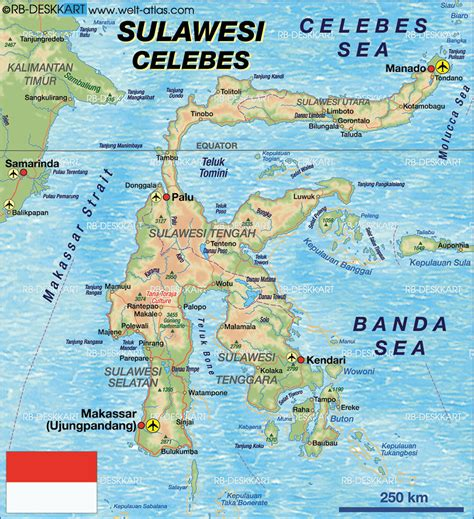 map  sulawesi island  indonesia welt atlasde