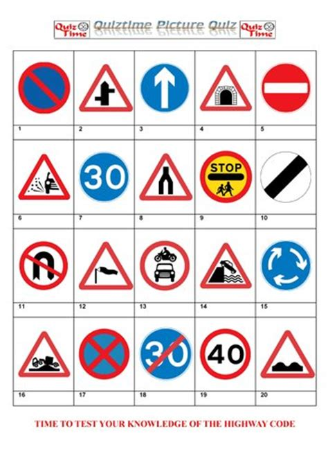 printable road sign quiz cranberry morning anglophile friday england signs