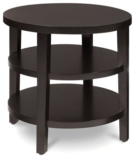 accent table with shelves multiple shelf contemporary round end table in espresso