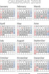 Calendar 2018 South Africa With Holidays Calendar For Year 2018 South Africa Free Printable Pdf