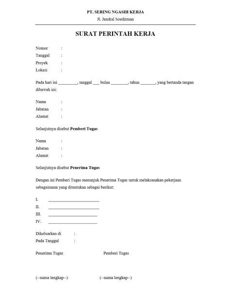 Contoh Surat Perintah Pt Duta Mandiri by Contoh Surat Perintah Kerja Spk Yang Baik Dan Benar