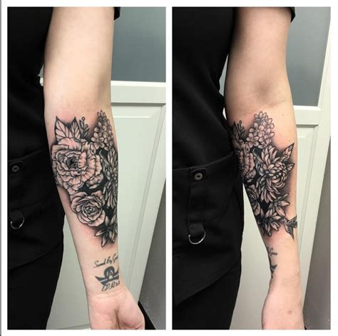 instagram tattoo cover up floral coverup on forearm instagram michaelbalesart by