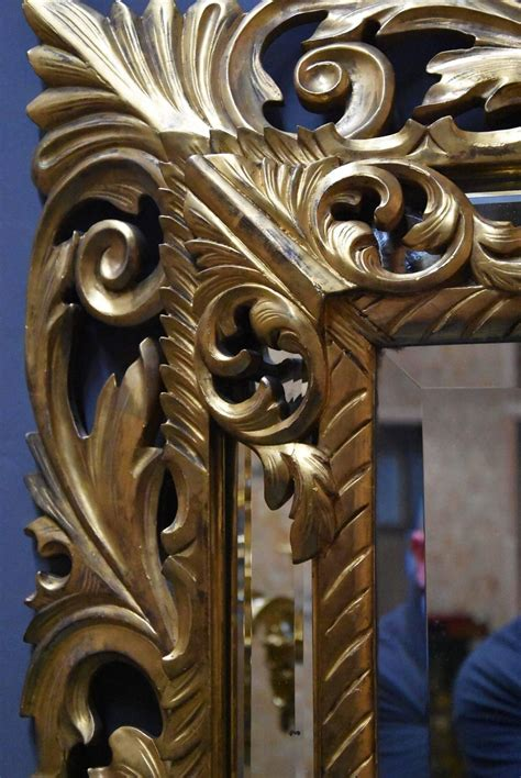 Large 19th Century Italian Carved Giltwood Large 19th Century Italian Florentine Superbly Carved Giltwood Cushion Mirror For Sale At 1stdibs
