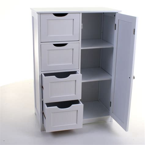 Bathroom Drawers White by 4 Drawer Cabinet Bathroom Storage Unit Chest Cupboard