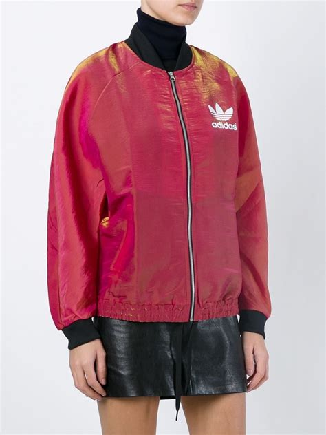 Bomber Adidas Pink lyst adidas originals trefoil bomber jacket in pink