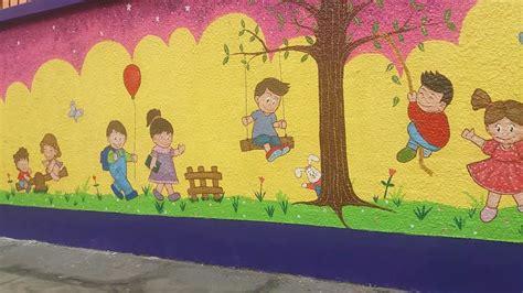 imagenes infantiles de niños jugando a color mural infantil pintado a mano con dibujos de bebes jugando