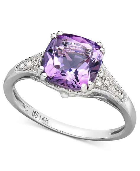 macy s 14k white gold ring amethyst 2 1 5 ct t w and