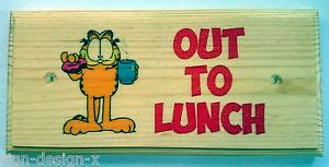 on break sign for desk out to lunch plaque sign garfield work office desk