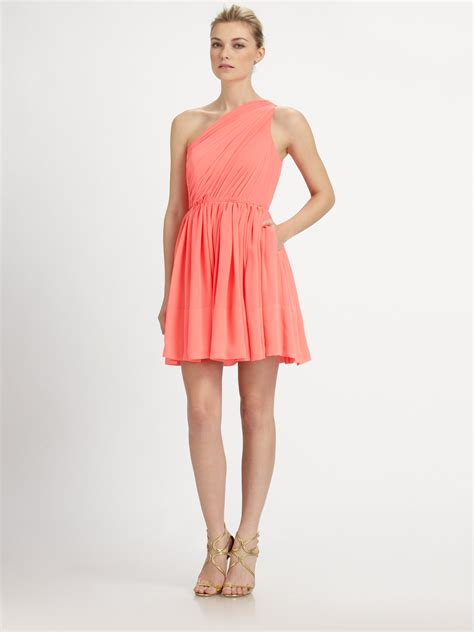 peachy pink symphony of silk shoshanna silk rayna dress in pink peach pink lyst