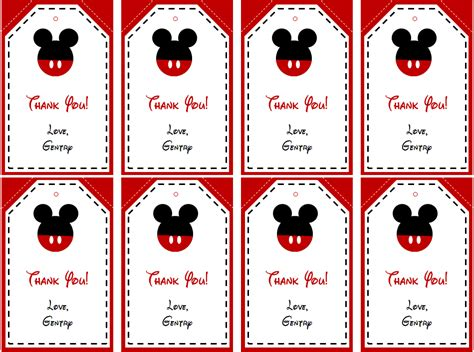 Mickey Mouse Thank You Cards Template by Mickey Mouse Birthday Gift Tags Printable Birthday