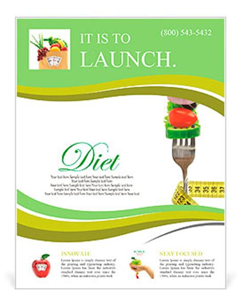flyer template nutrition fresh mixed vegetables on fork with measuring tape flyer