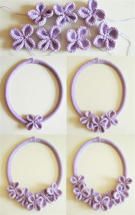 flores de crochet crochet flower necklace 3 collar de flores a ganchillo