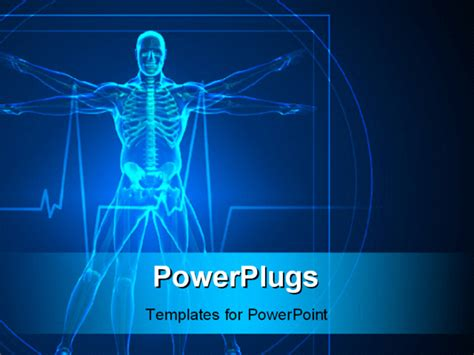 powerpoint template body and skeleton vitruvian man in