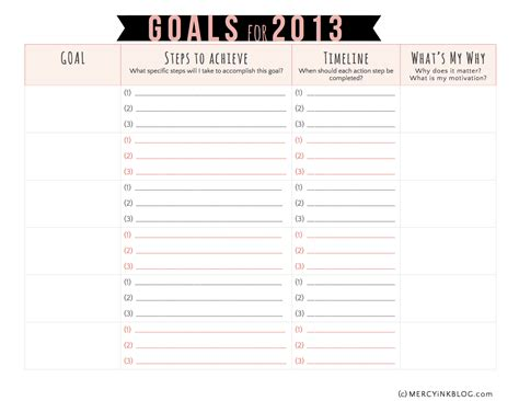printable ar goal sheets vision goal setting in 2013 a free printable free