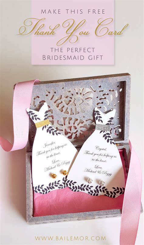 bridesmaid thank you card template free instant