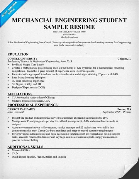 fantastic resume format in engineering student mechanical engineering student resume resumecompanion