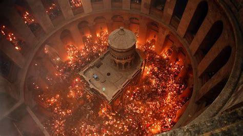 holy fire ceremony  jerusalem draws thousands