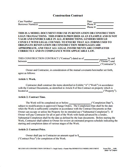 contract for contractors template construction contract 9 documents in pdf
