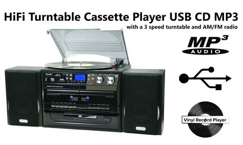 cd cassette player stereo system turntable vinyl record player w dual