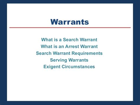 Search Warrant Requirements Chapter 8
