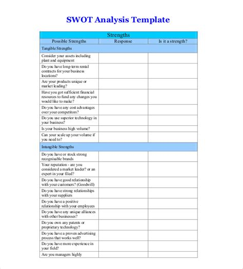 free swot analysis template 11 free word excel pdf
