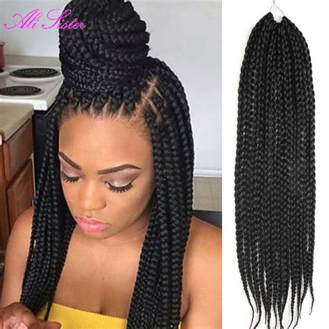 box braids hairstyle human hair or synthtic box braids hair synthetic hair xpression braiding hair
