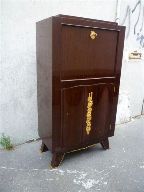 Gold Bar Cabinet Signed Jules Leleu 1940s Bar Cabinet In Mahogany And Gold Bronze For Sale At 1stdibs