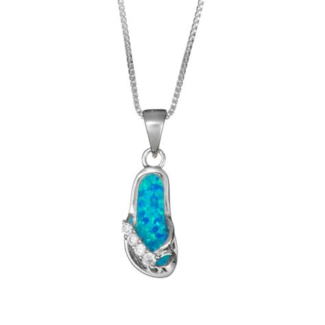 sterling silver blue opal flip flop necklace landing company