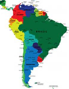map of the continent of south america with countries and