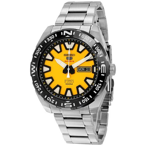 Seiko 5 Sports Srp745k1 Yellow Stainless Steel Bracelet Jam seiko 5 sport automatic yellow and black stainless