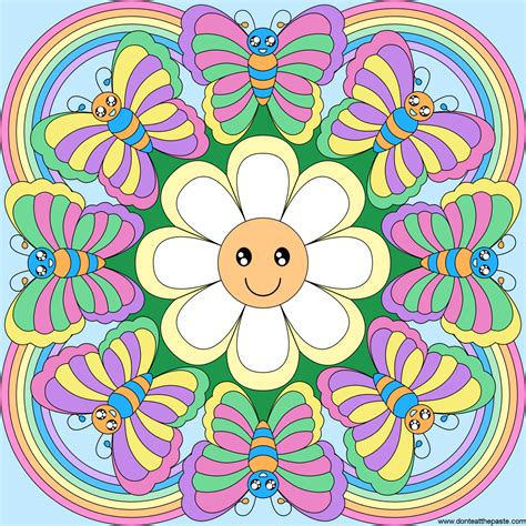 rainbow mandala coloring pages rainbows flowers and butterflies mandala blank version