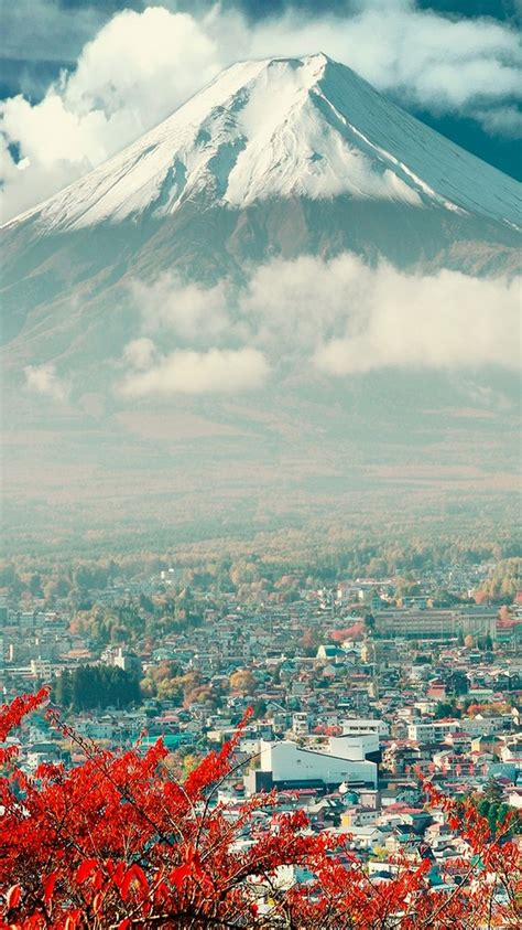 mount fuji japan city iphone  wallpaper pemandangan
