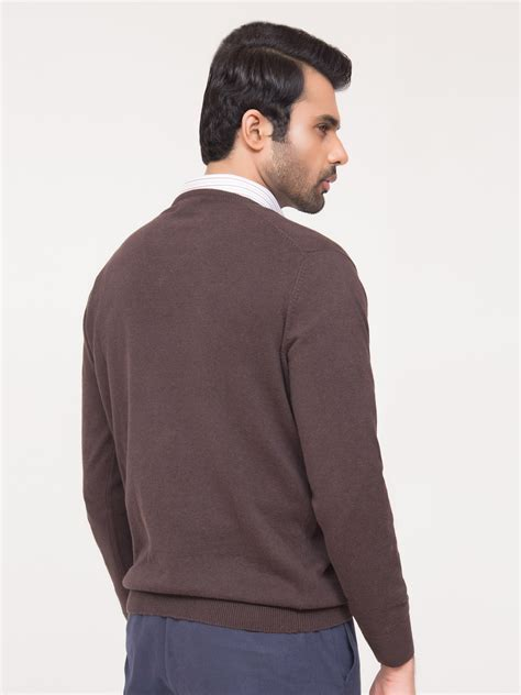 V Neck Basic Brown brown v neck cardigan uomo cardigan