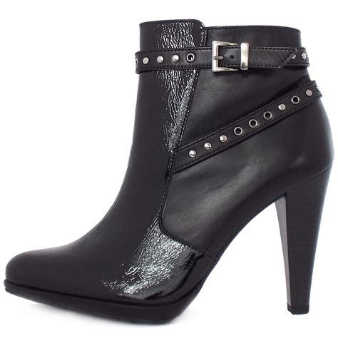black patent high heel boots kaier peli high heel ankel boots in black leather