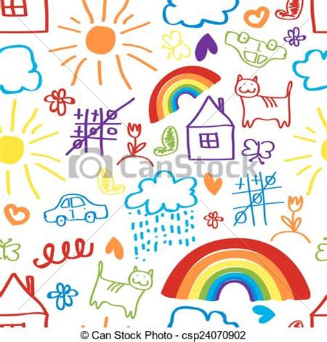 children s painting free for pc vector clipart of children drawing seamless pattern