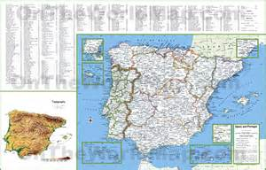 map with all cities and towns large detailed map of spain and portugal with cities and towns