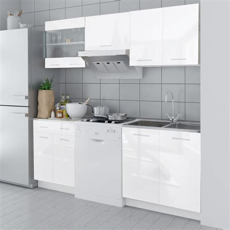 High Gloss White Cabinets by Vidaxl Co Uk 5 Pcs High Gloss White Kitchen Cabinet Unit