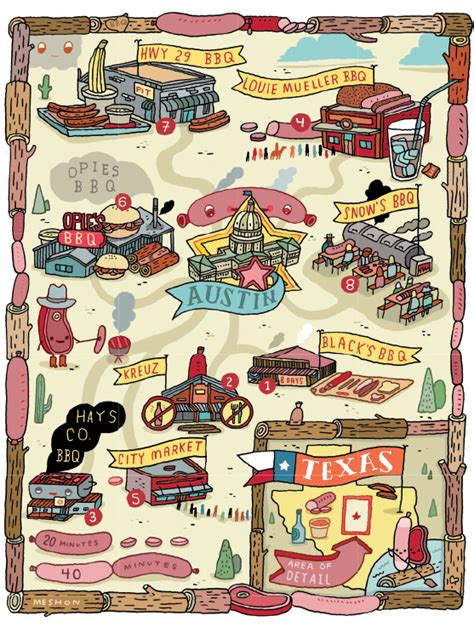 best bbq in texas map quot bbq land quot for american airlines magazine on behance
