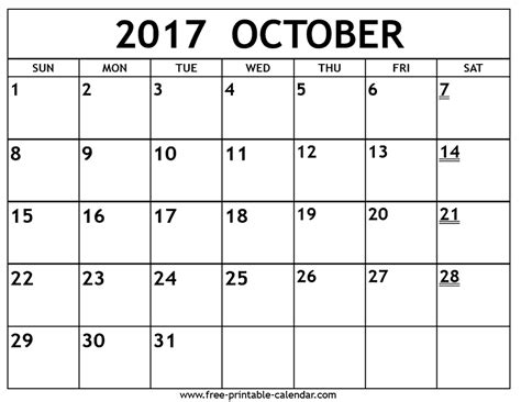 Printable Calendar Month Of October 2017 | printable 2017 october calendar