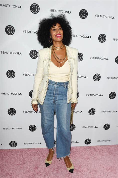 tracee ellis ross jeans tracee ellis ross in chanel and vetements at the beautycon