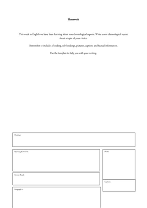 Planning Frame For Report Writing by Non Chronological Report Planning Frame By Samdaunt77 Teaching Resources Tes