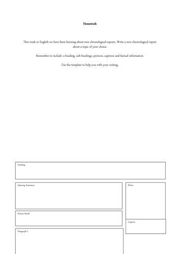 Non Chronological Report Writing Frame