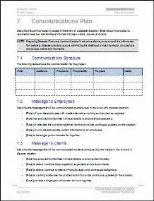 communication plan disaster recovery communication plan