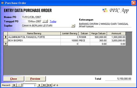 ilmu software contoh purchase order