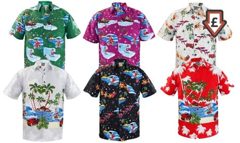 christmas themed clothing uk men s hawaiian christmas shirts groupon
