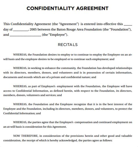 Sample Legal Confidentiality Agreement Template 8 Free
