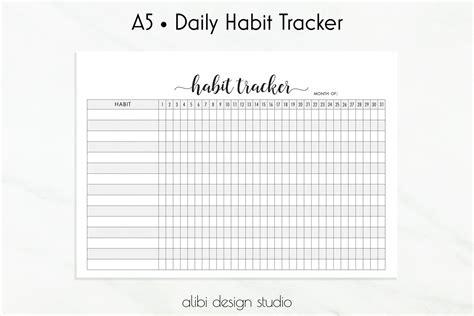 Habit Tracker Habit Printable A5 Planner Inserts Daily Habits Printable Monthly Planner Daily Habit Tracker Template